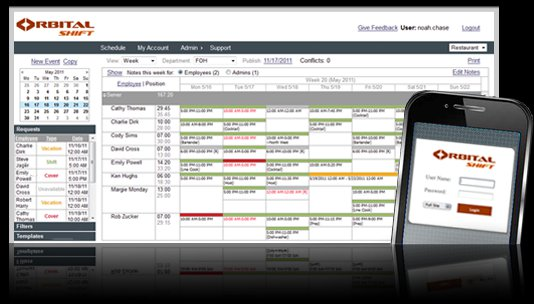 Orbital Shift's online employee scheduling software with time clock.